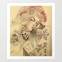 mucha Art Prints featuring mucha chicano by Paolo Zorzenon
