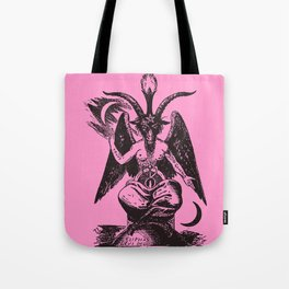 Black and Pink Baphomet Tote Bag