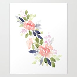 Peach & Nvy Watercolor Flowers Art Print