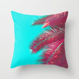 Neon Palm Throw Pillow