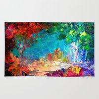 jazzberry Area & Throw Rugs featuring WELCOME TO UTOPIA Bold Rainbow Multicolor Abstract Painting Forest Nature Whimsical Fantasy Fine Art by EbiEmporium