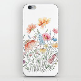 wild flower bouquet and blue bird- ink and watercolor 2 iPhone Skin