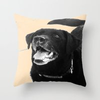labrador Throw Pillows featuring Labrador Happy by Jennifer Warmuth Art And Design