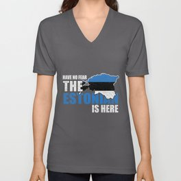 Have no Fear Estonian Is Here Distressed Unisex V-Neck