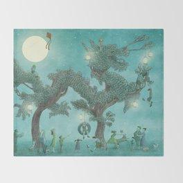 The Night Gardener - Dragon Tree night option  Throw Blanket