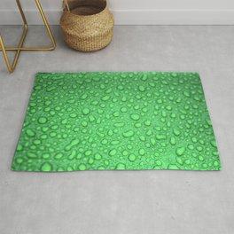 Green Raindrops HDR Rug
