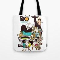 rio de janeiro Tote Bags featuring RIO DE JANEIRO by Valter Brum