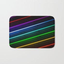 Rainbow Neon Stripes Bath Mat