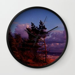 Red Pine and Moon Wall Clock