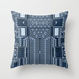 Blue Geek Motherboard Circuit Pattern Throw Pillow