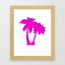 Vaporwave Palm Tree Gift Aesthetic Style Pink Palm Framed Art Print