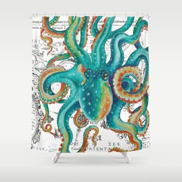 Teal Octopus Tentacles Vintage Map Nautical Shower Curtain
