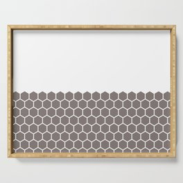 Hexagon Honeycomb Half Pattern (Driftwood Brown) Serving Tray