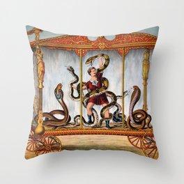 Snake -  Snakes -  Cobra -  Python -  Man -  Male -  Person - Vintage illustration. Retro décor. Throw Pillow