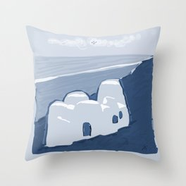 Labyrinth on the Shore, Sketch, Cyanotype Throw Pillow