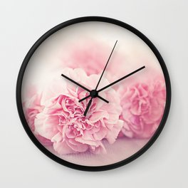 Pale Pink Carnations 4 Wall Clock