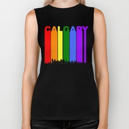 Calgary Alberta Gay Pride Rainbow Skyline Biker Tank