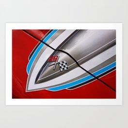 classic Chevrolet Corvette hood paintjob Art Print