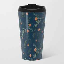 The floral style pattern on a blue background . Travel Mug