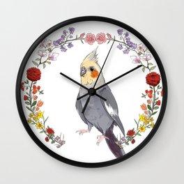 Cockatiel Wreath Wall Clock