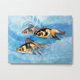Three Watercolor Fantail Goldfish Metal Print