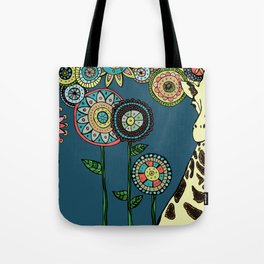 Giraffe with abstract flowers Tote Bag