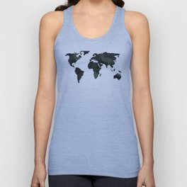 World Continents Map Black on Linen Unisex Tank Top