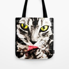 cat kitty licks licking paws perfectly Tote Bag