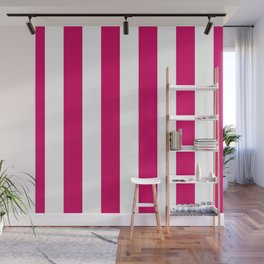 Bright Pink Peacock and White Wide Vertical Cabana Tent Stripe Wall Mural