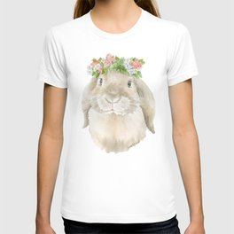 Lop Rabbit Floral Wreath Watercolor Painting T-shirt
