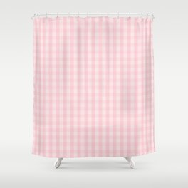 Light Millennial Pink Pastel Color Gingham Check Shower Curtain