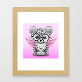 Snow Leopard Cub Fairy Wearing Glasses on Pink Framed Art Print