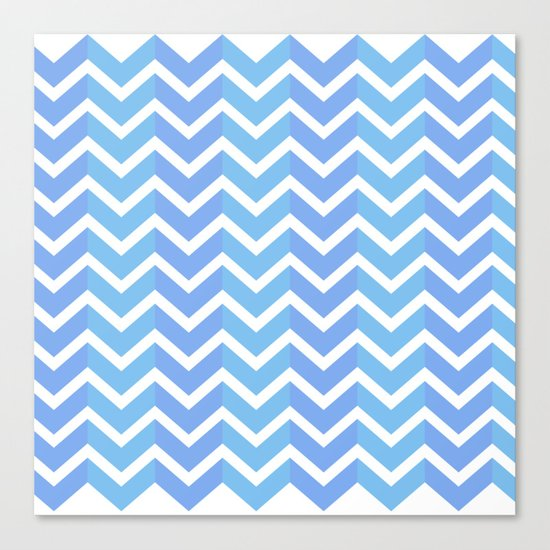 Blue Chevron Pattern Canvas Print
