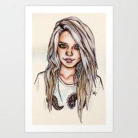 sky ferreira Art Prints featuring Sky Ferreira by vooce & kat