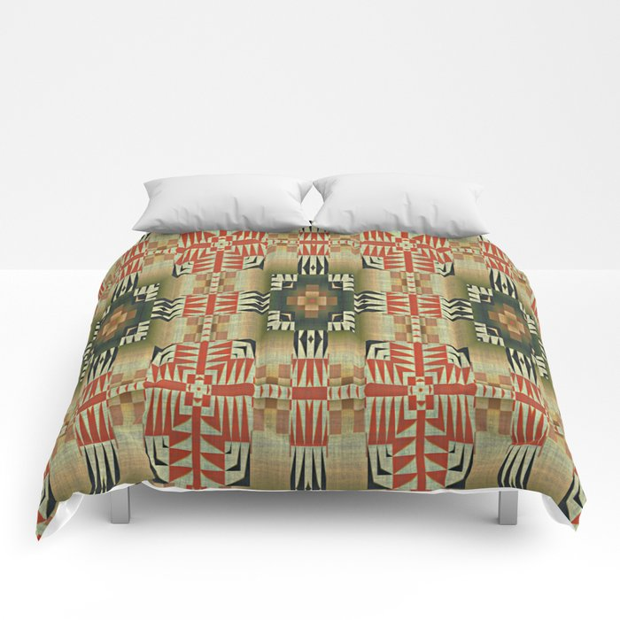 Orange Red Olive Green Native American Indian Mosaic Pattern Comforters by Society6