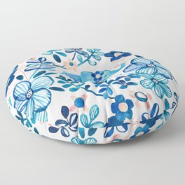 Blush Pink, White and Blue Elephant and Floral Watercolor Pattern Floor Pillow