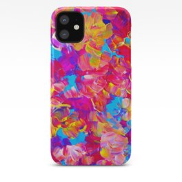 FLORAL FANTASY Bold Abstract Flowers Acrylic Textural Painting Neon Pink Turquoise Feminine Art iPhone Case