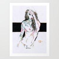 Tatooed Girl Art Print