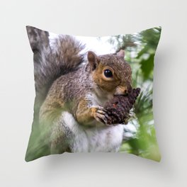 Squirrel with Pine Cone Throw Pillow