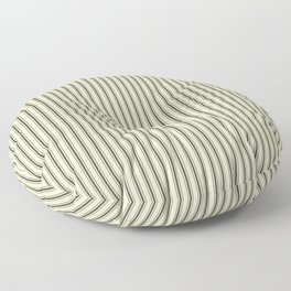 Mattress Ticking Narrow Striped Pattern in Dark Black and Cream Floor Pillow