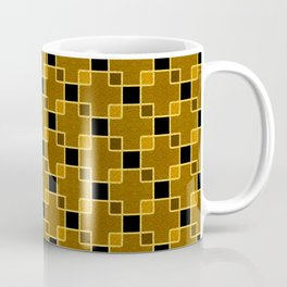 Gold Foil Boxes in Bronze Overlapping Gold on Black Coffee Mug