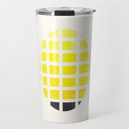 Watercolor Colorful Yellow Minimalist Mid Century Modern Square Matrix Geometric Pattern Round Circl Travel Mug