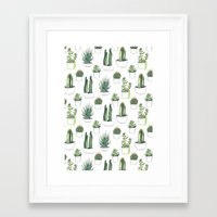 sleep Framed Art Prints featuring watercolour cacti and succulent by Vicky Webb