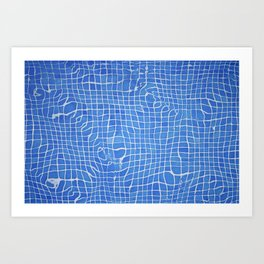 Abstract blue background grid Art Print