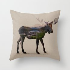 The Alaskan Bull Moose Throw Pillow