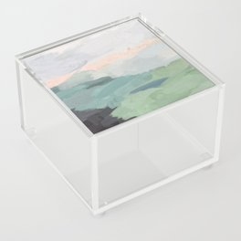 Seafoam Green Mint Black Blush Pink Abstract Nature Land Art Painting Acrylic Box