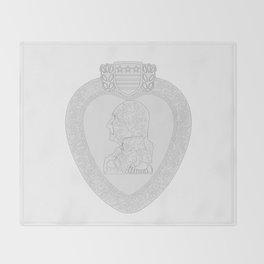 Purple Heart Medal Outline Throw Blanket