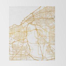 CLEVELAND OHIO CITY STREET MAP ART Throw Blanket
