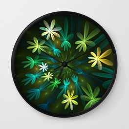 Fantasy Flowers, Fractal Art Wall Clock