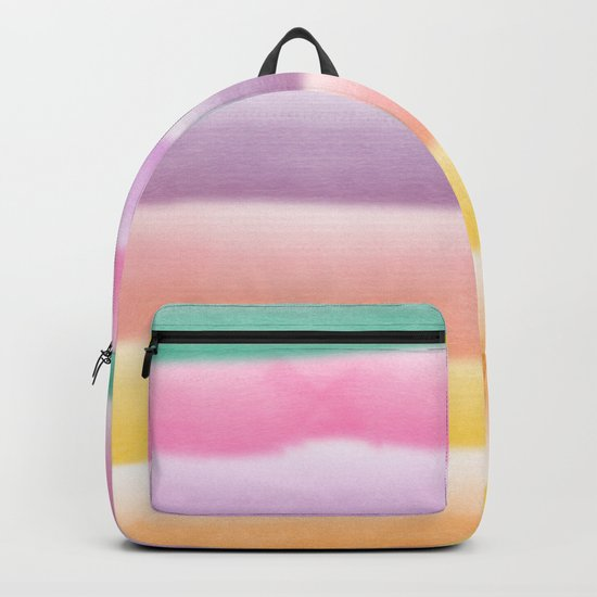 Modern hand painted multi color summer watercolor stripes pattern Backpack